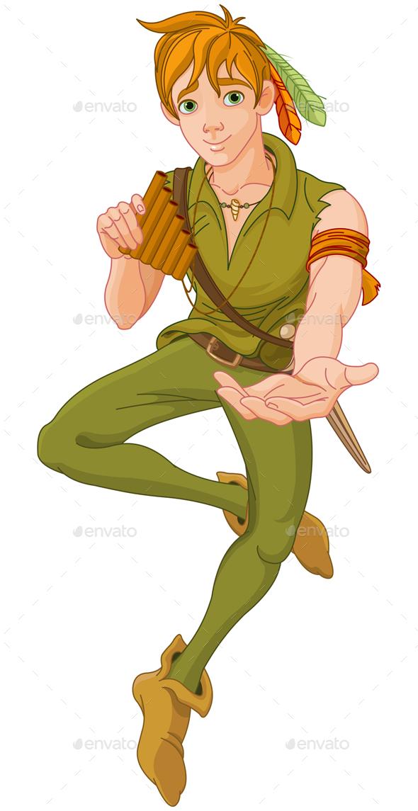Boy Wearing Peter Pan Costume - Characters Vectors