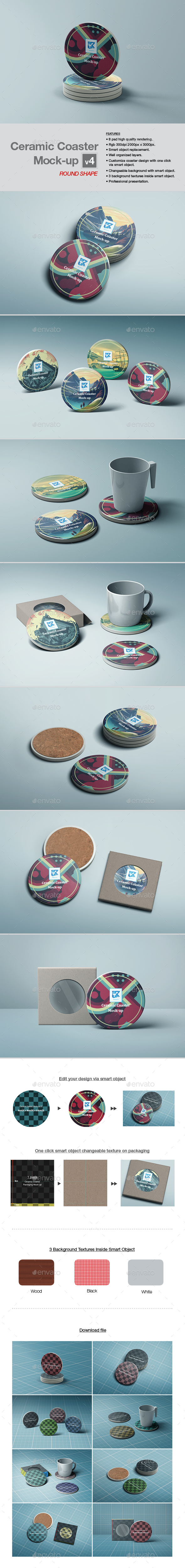 Ceramic Coaster Mock-up v4 - Print Product Mock-Ups