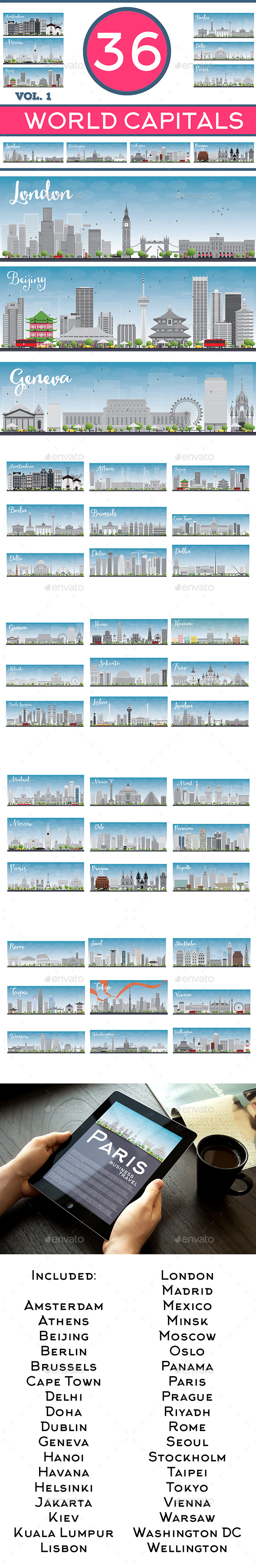 36 World Capitals Skyline - Buildings Objects
