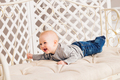 Family morning at home. Little kid lying on tummy - PhotoDune Item for Sale