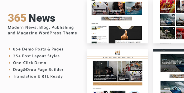 365 News - News Blog Publishing Magazine WordPress Theme - News / Editorial Blog / Magazine