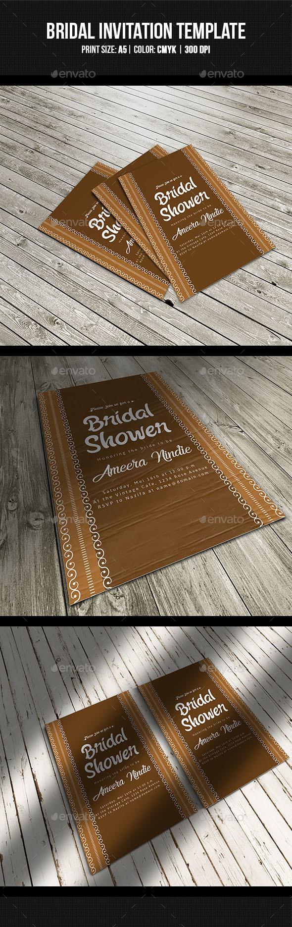 Vintage Bridal Shower Invitation - Cards & Invites Print Templates