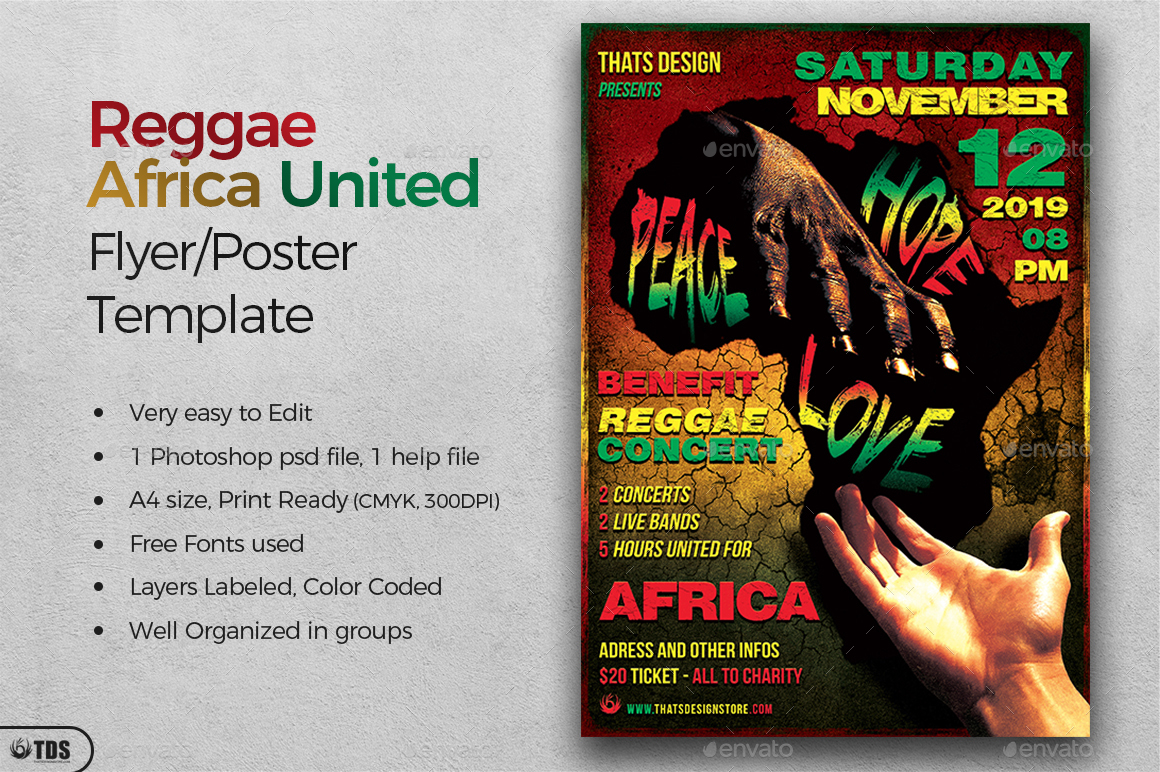 Reggae Africa United Flyer Template by lou606 | GraphicRiver