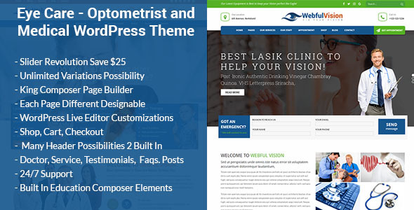Eye Care - Optometrist and Medical WordPress Theme - Health & Beauty Retail