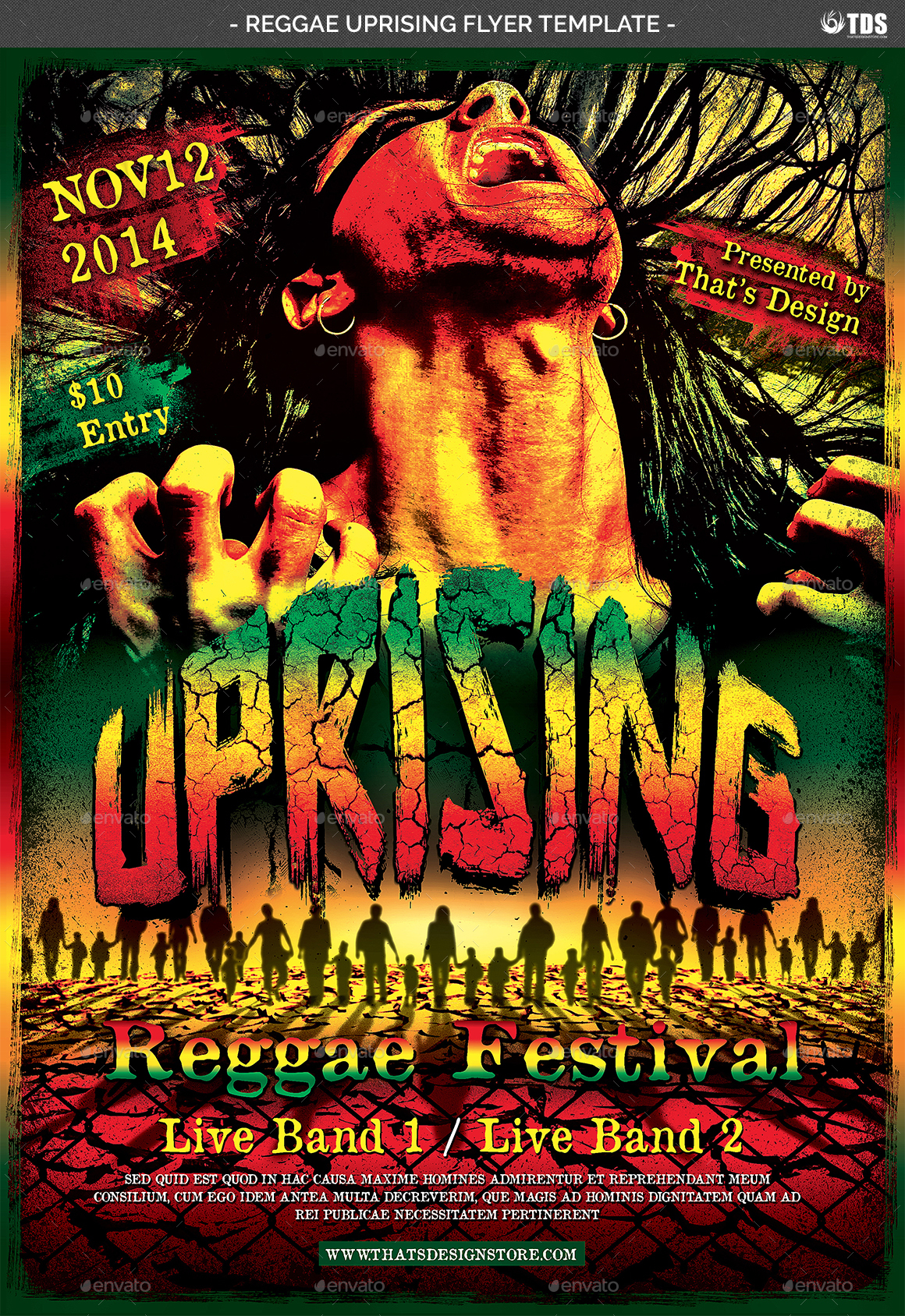 reggae uprising flyer template by lou606