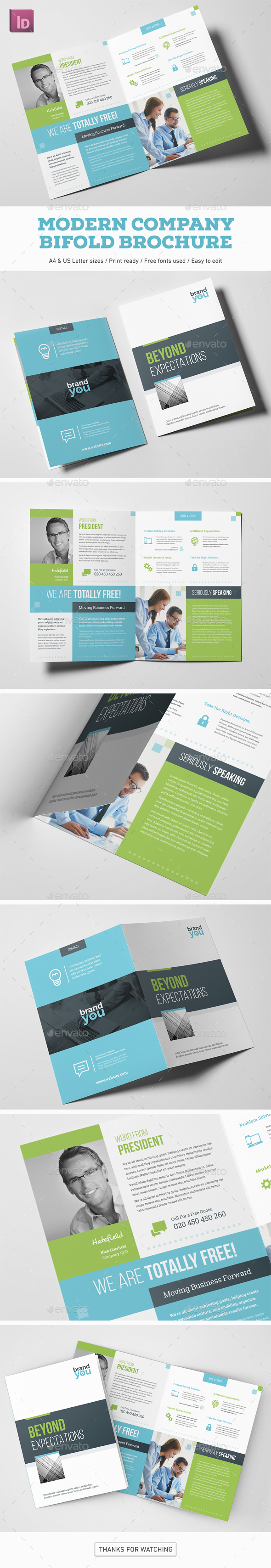 Modern Company Bifold Brochure - Corporate Brochures