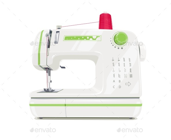 Modern Sewing Machine with Red Spool Thread - Vectors
