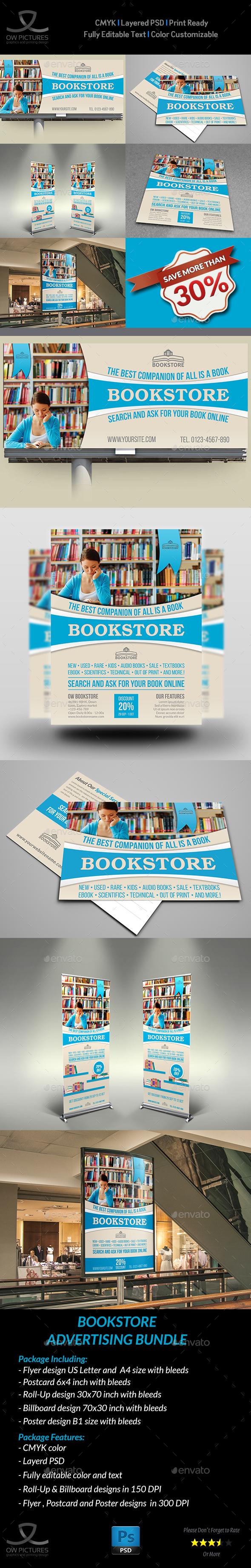 Bookstore Advertising Bundle - Signage Print Templates