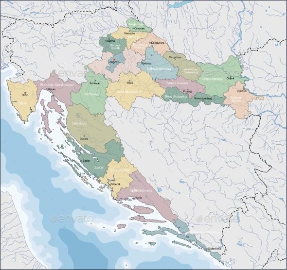 Map of Croatia - Miscellaneous Vectors