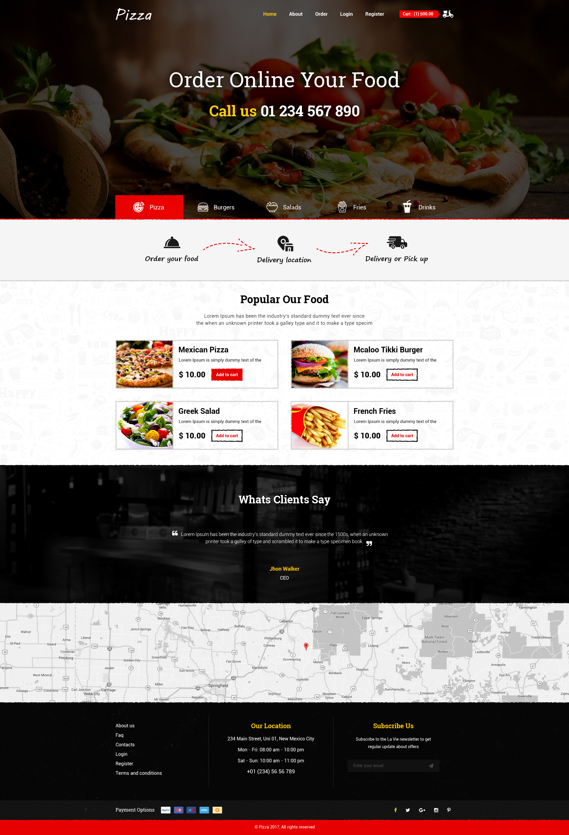 Pizza - Online Order Fast Food PSD Template