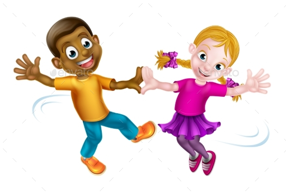 Two Kids Dancing - People Characters