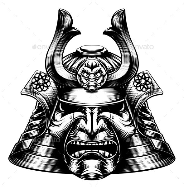 Samurai Mask Woodcut Style - Miscellaneous Vectors