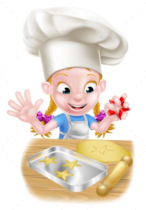 Cartoon Chef Girl Baking - Food Objects