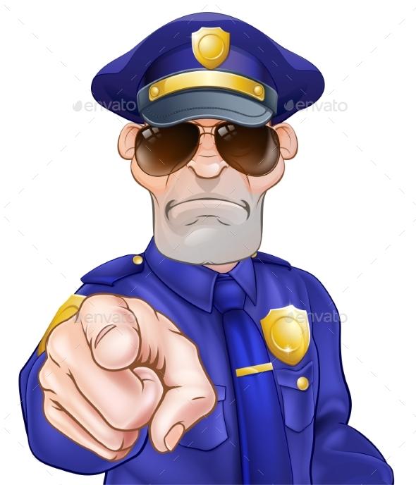 Cartoon Policeman - People Characters