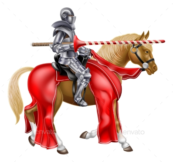 Medieval Lance Knight on Horse - People Characters