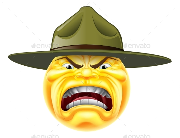Angry Emoji Emoticon Drill Sergeant - Miscellaneous Characters