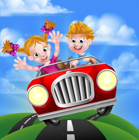 Cartoon Kids Driving Car - People Characters