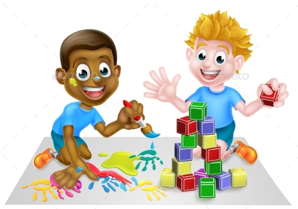 Cartoon Boys Playing With Paint and Blocks - Miscellaneous Vectors