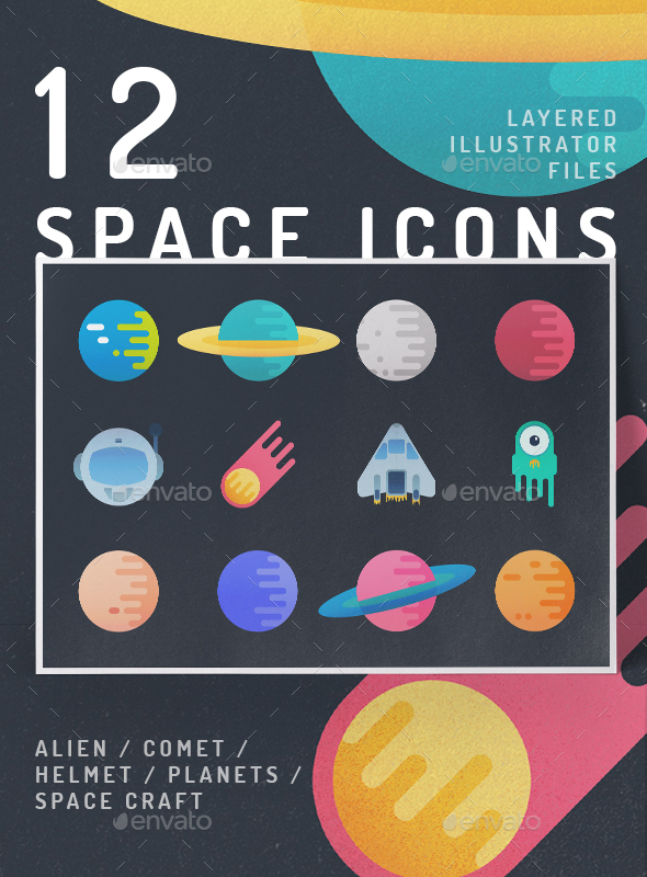 12 Vibrant Space Icons - Icons