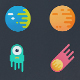 12 Vibrant Space Icons - GraphicRiver Item for Sale