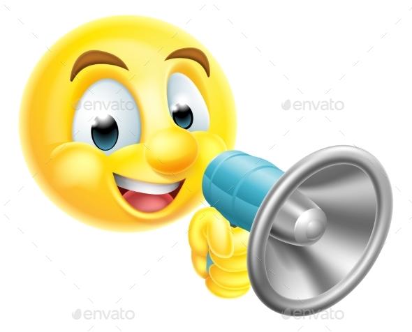 Emoticon Emoji Holding Mega Phone - Miscellaneous Characters