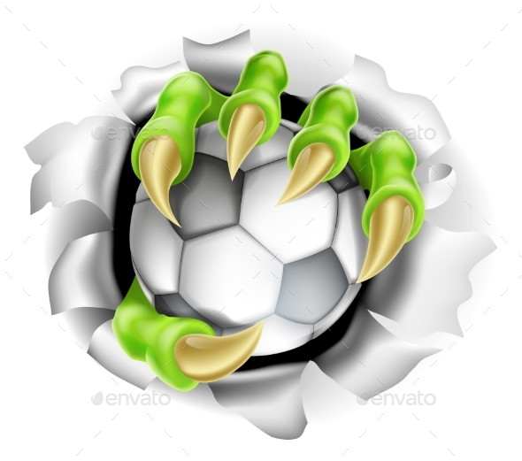 Claw with Soccer Ball Breaking Out of Background - Sports/Activity Conceptual