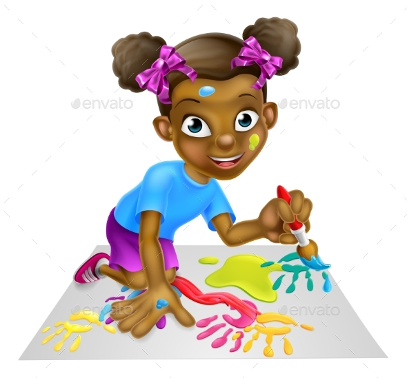 Cartoon Little Girl Painting - Miscellaneous Vectors