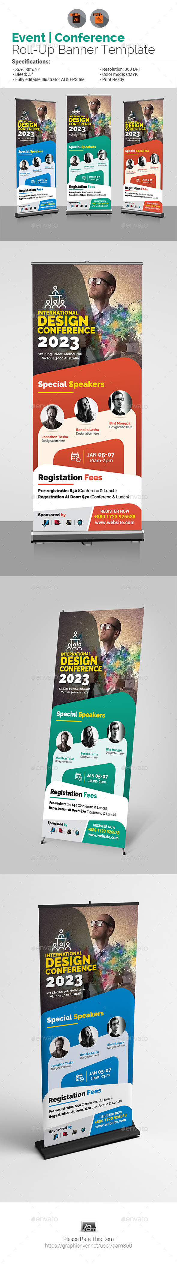 Conference Roll-Up Banner Template - Signage Print Templates