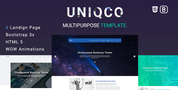 Uniqco - Multipurpose Responsive Bootstrap Landing page Template. - Corporate Landing Pages