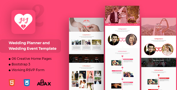 J&J - Responsive Bootstrap 3 Wedding Template - Wedding Site Templates