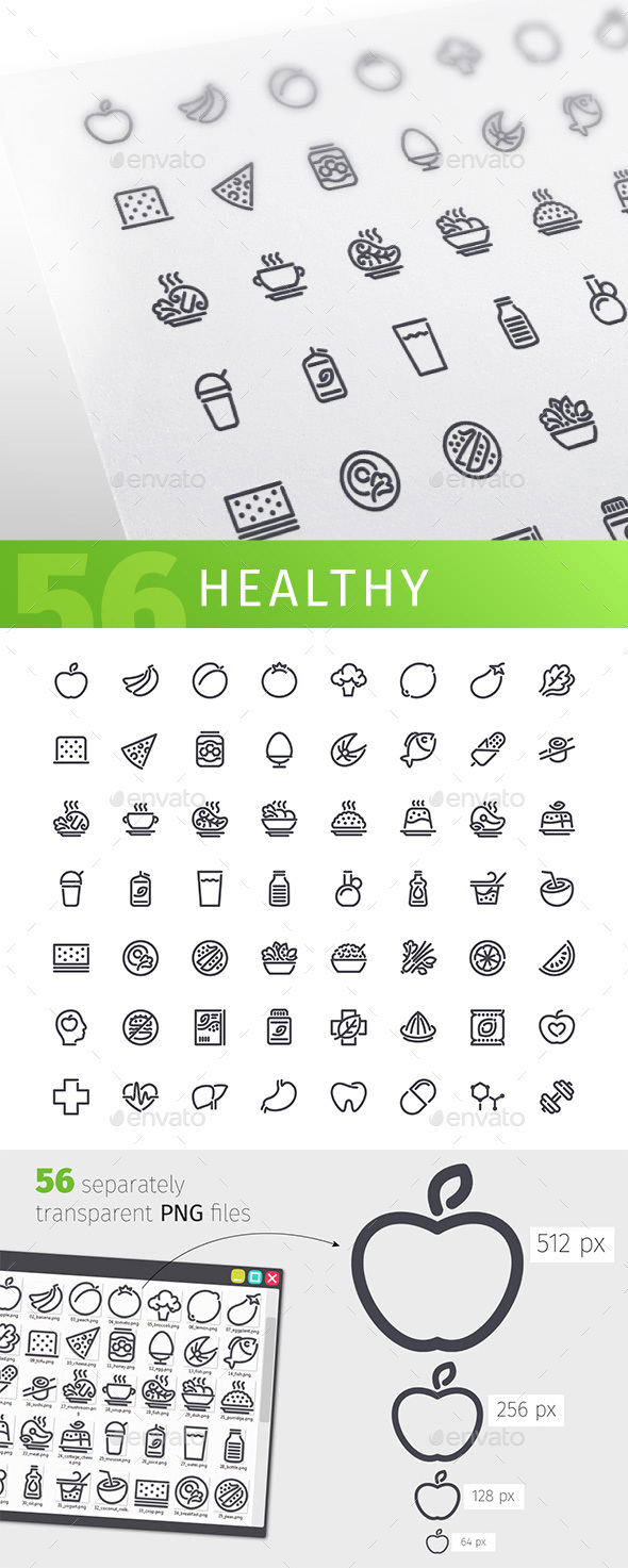 Healthy Food Line Icons Set - Food Objects