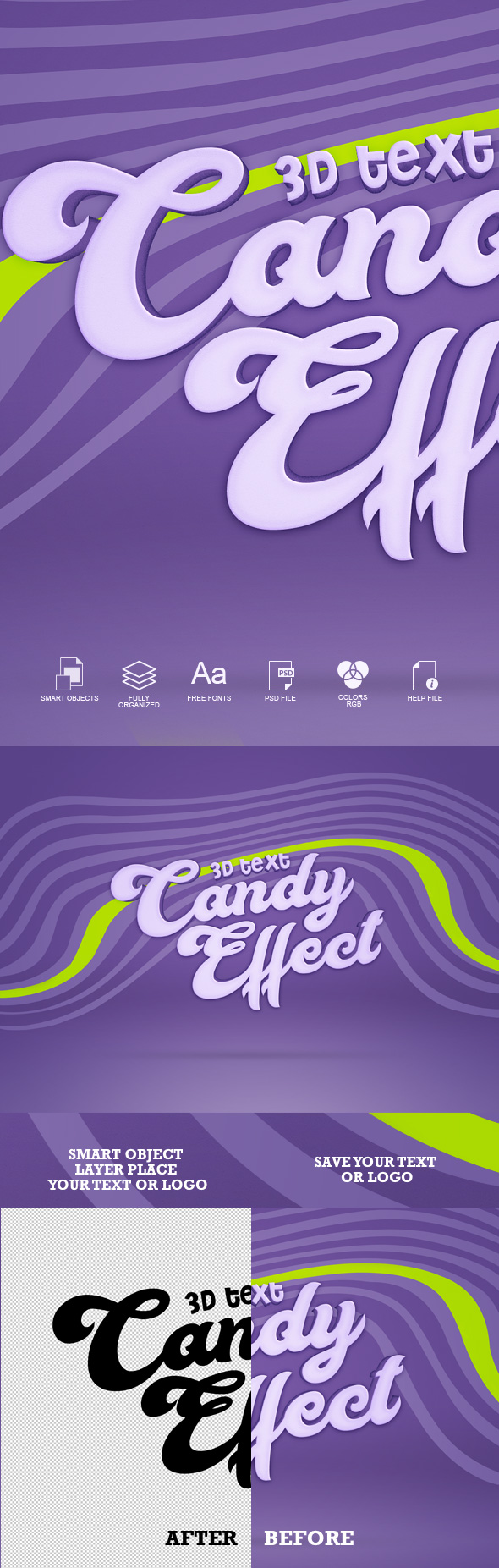Candy 3D Text Effect - Text Effects Actions