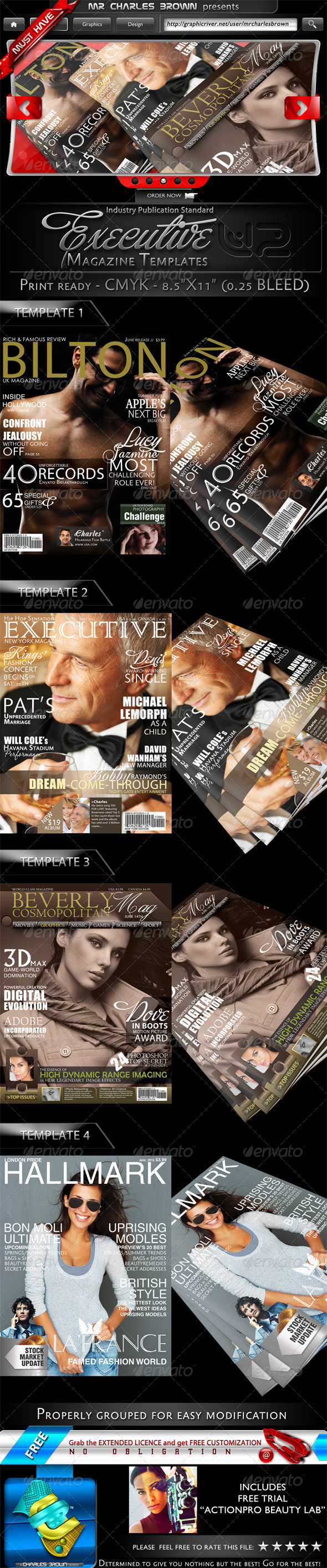 4 Executive Magazine Templates V2 - Magazines Print Templates