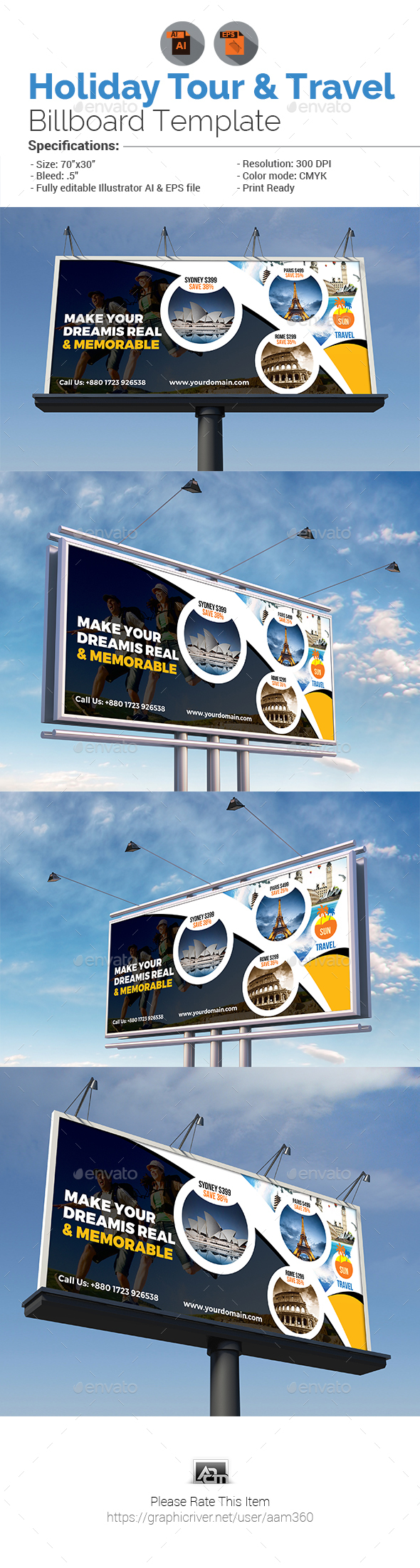 Holiday Tour & Travel Billboard - Signage Print Templates
