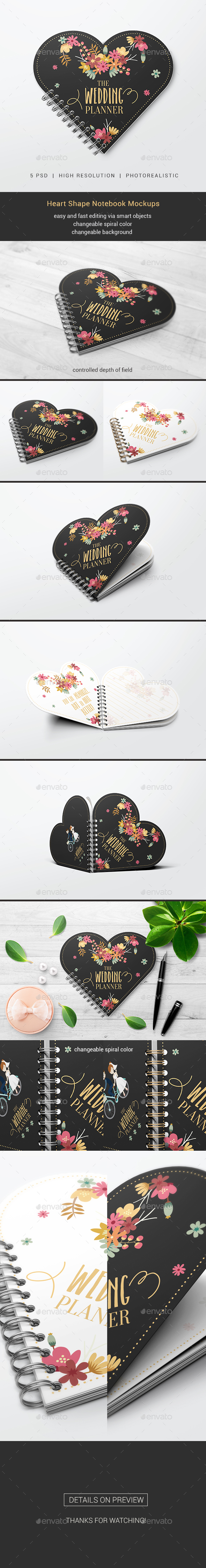 Heart Shape Notebook Mockups - Miscellaneous Print