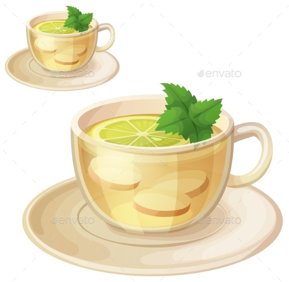 Herbal Tea with Ginger Root and Mint Illustration - Food Objects