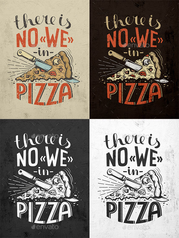 Pizza Lettering Poster - Food Objects