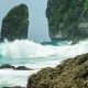 Rock in Tembeling Coastline. Ocean Waves Moving Toward the Coast at Nusa Penida Islan. Bali - VideoHive Item for Sale