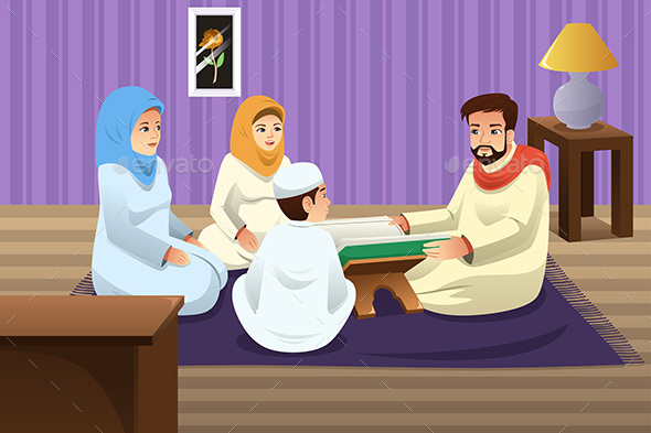 Muslim Family Studying Quran at Home - People Characters
