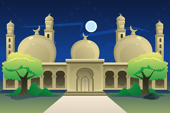 Islamic Mosque at Night Time - Buildings Objects
