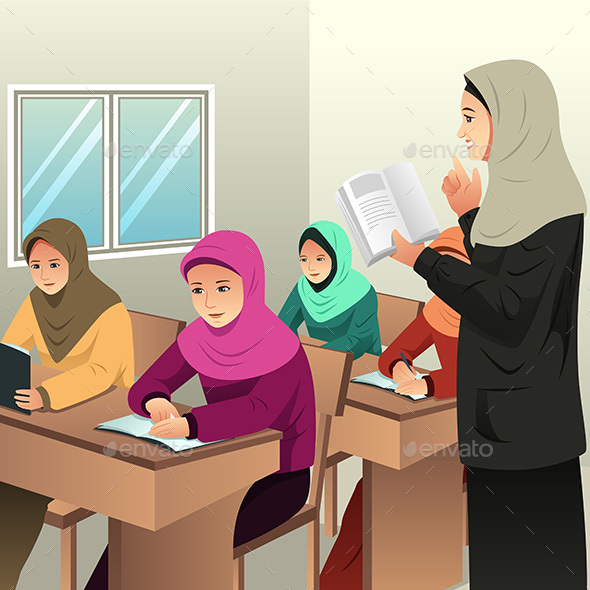 Muslim Students in a Classroom with Her Teacher - People Characters