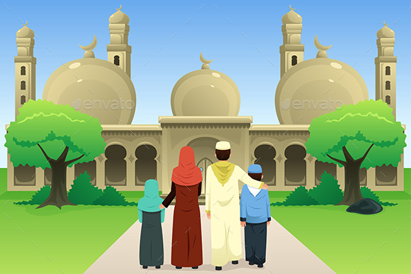 Muslim Family Going to Mosque - People Characters