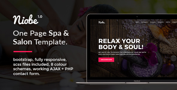 Niobe – One Page Spa & Salon HTML Template