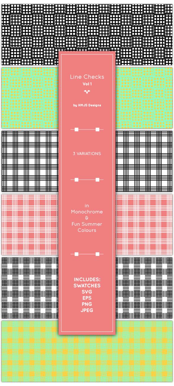 Line Checks, Vol 1 - Textures / Fills / Patterns Illustrator