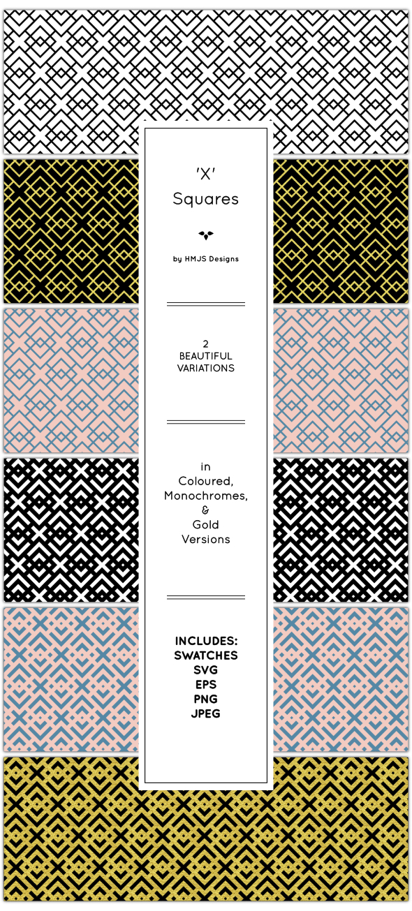 The 'x' Squares Pattern Set - Textures / Fills / Patterns Illustrator