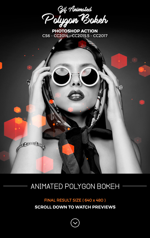 Gif Polygon Bokeh Photoshop Action - Photo Effects Actions