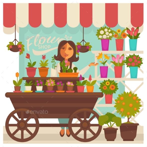 Florist Woman Near Flower Shop Showcase - Flowers & Plants Nature