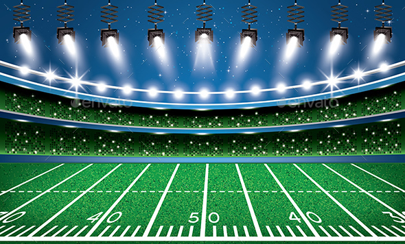 American Football Stadium Arena with Spotlights - Sports/Activity Conceptual
