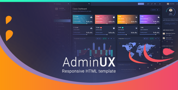 AdminUX Dashboard | Responsive HTML