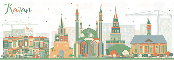 Abstract Kazan Skyline with Color Buildings. - Buildings Objects